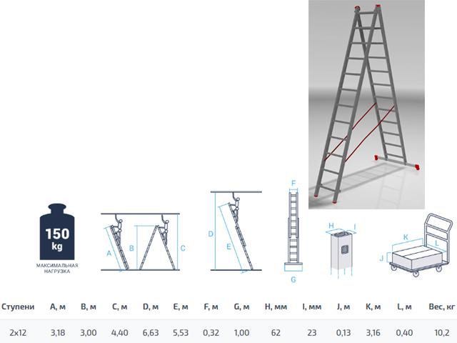 Лестница алюм. 2-х секц. 300/553см 2х12 ступ., 10,2кг PRO STARTUL (ST9947-12)