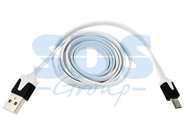 USB кабель универсальный microUSB шнур плоский 1 м белый (REXANT)