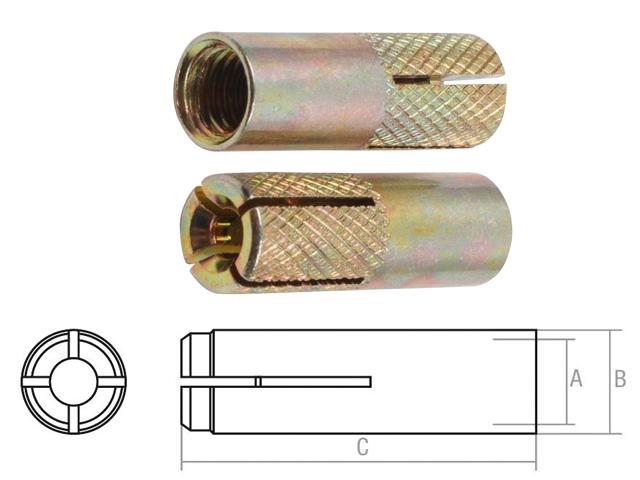 Анкер забиваемый М6х8х25 мм